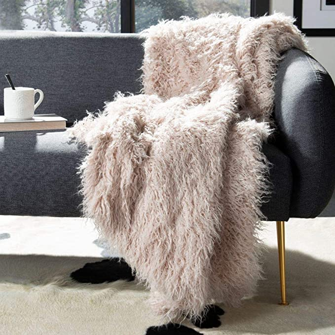 Blush Faux Sheepskin Throw - throw - PICNIC