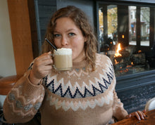 Load image into Gallery viewer, Mocha Fair Isle Pullover Sweater  picnic
