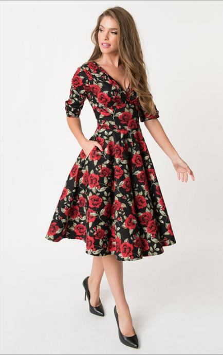 Unique Vintage Red Roses - Dresses - PICNIC