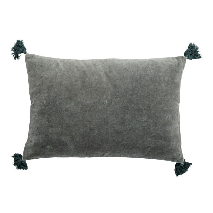 Velvet Sage Green Cotton Pillow With Tassels - Pillows - PICNIC