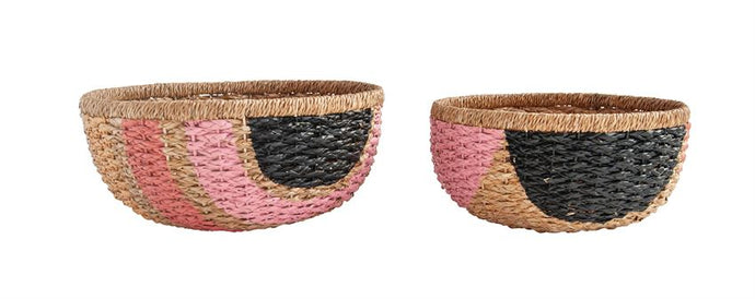 Pink & Black Braided Basket Set - Baskets - PICNIC
