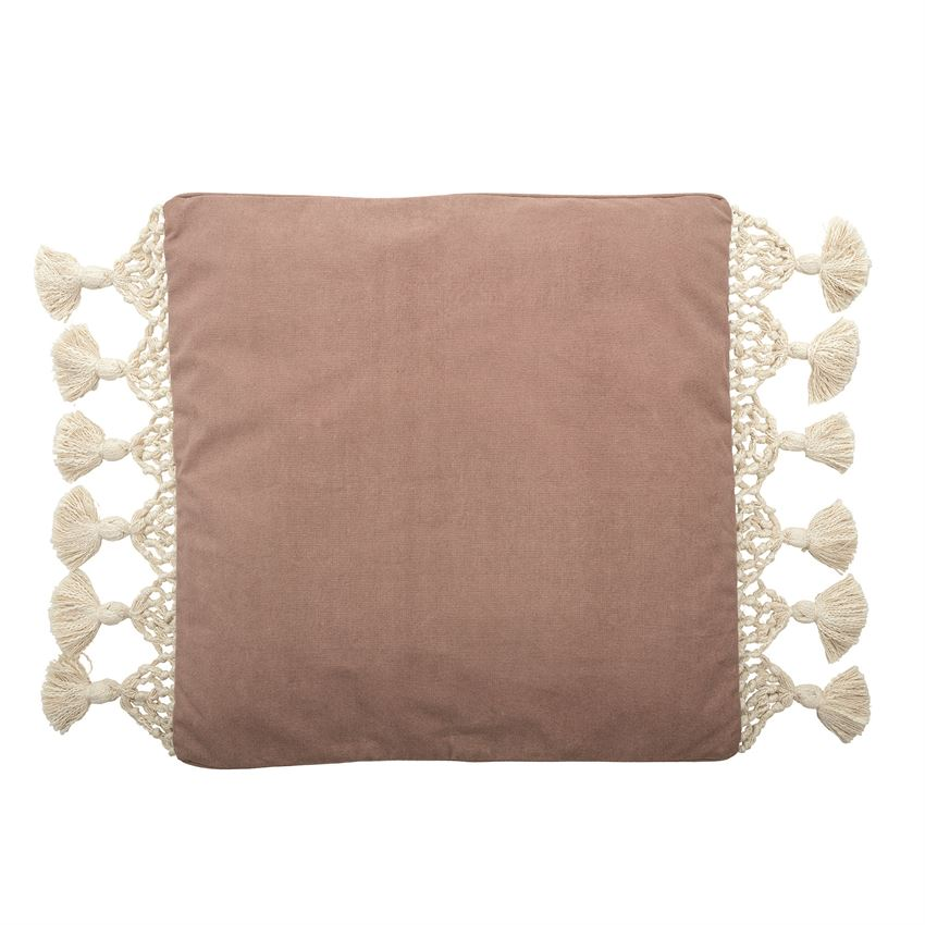 Rose & Macrame Square Pillow