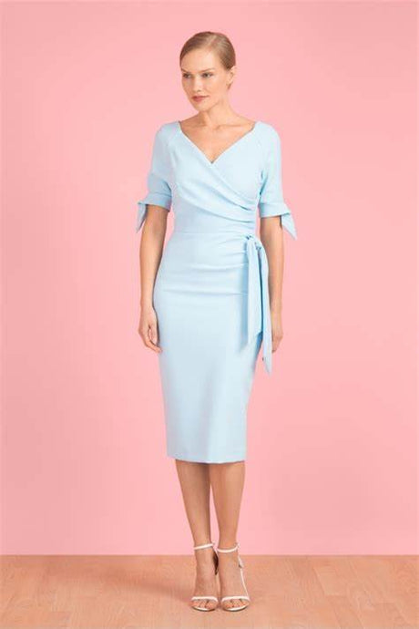 Ice Blue Hourglass Bow Sleeve Pencil Dress
