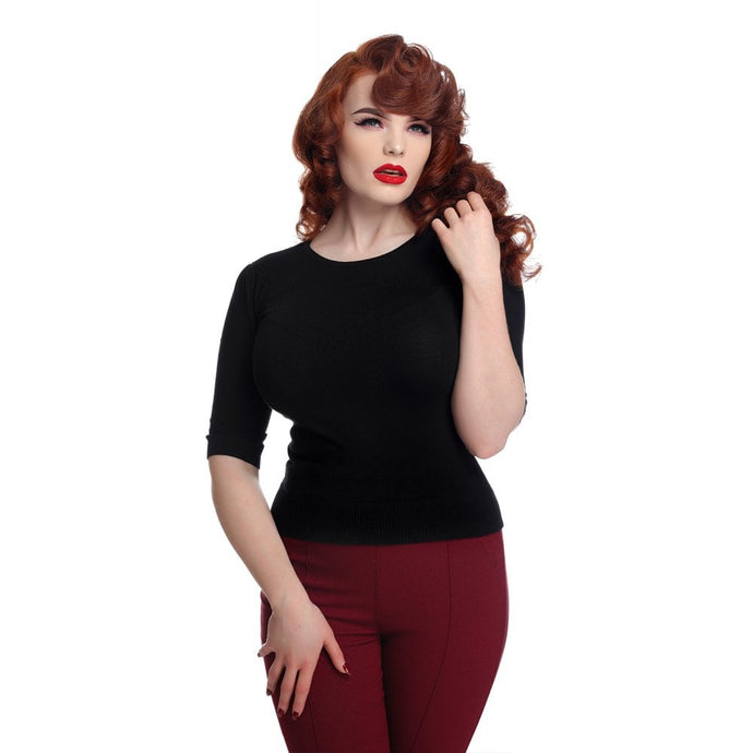 Black Chrissie Plain Knitted Top - picnic
