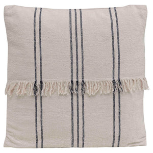 Woven Cotton Striped Pillow w/ Fringe