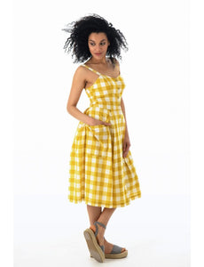 Layla Mustard Plaid Sundress - Dresses - PICNIC