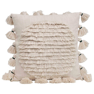 Cream Fringe Design Pillow
