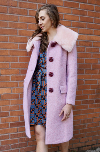 Vivian Coat in Blush Pink with Faux Fur
