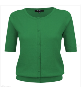 Round Neck Button Down Cardi in Bright Green - Sweaters - PICNIC