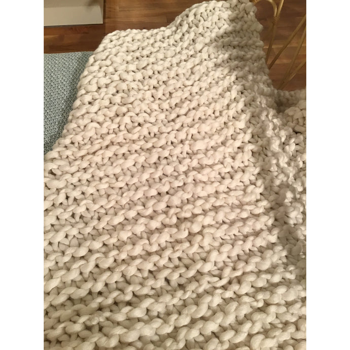 Cream Chunky Knit Throw - Blankets - PICNIC