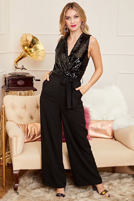 Sequin Wrap Over Jumpsuit - Clothing - PICNIC