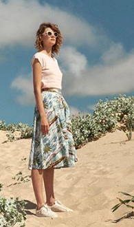 Sandy Button Skirt in Island Paradise - Skirts - PICNIC