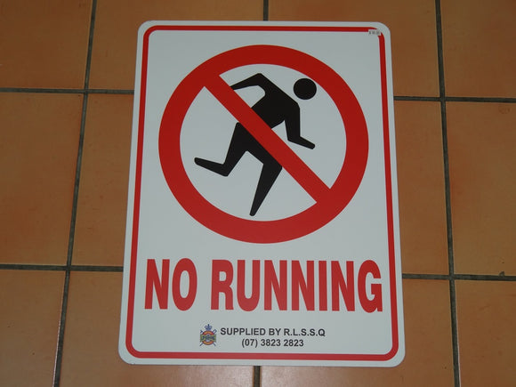 Sign: No Running (style 1) [CLEARANCE] (1 only)