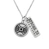 25 pound Weight Plate pewter Necklace with strong Is Beautiful Charm