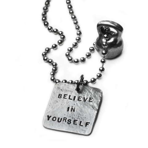 medium pewter kettlebell necklace with Believe In Yourself Square Charm