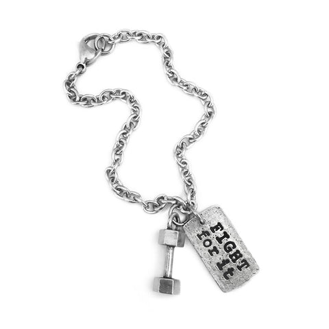 Fight For It Dumbbell Charm Bracelet