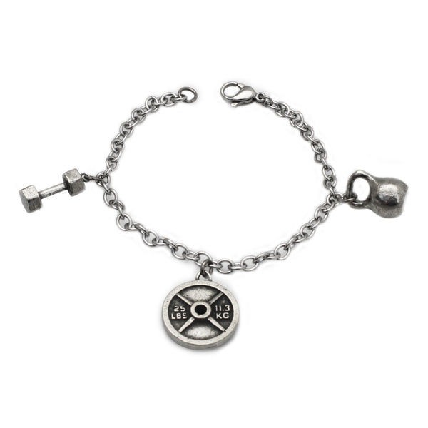 Fitness Gear Charm Bracelet with dumbbell, 25 pound weight plate, and medium pewter kettlebell