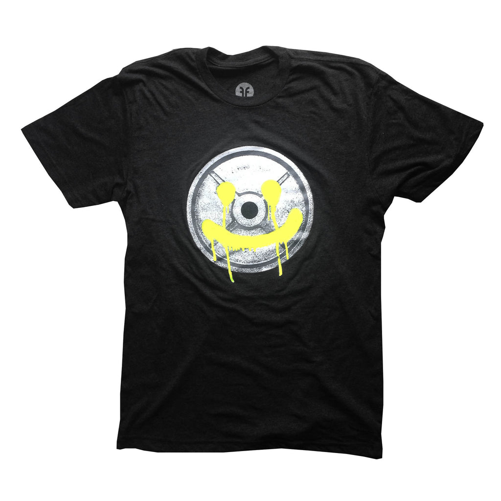 Black t-shirt with yellow happy weight plate image printed on it
