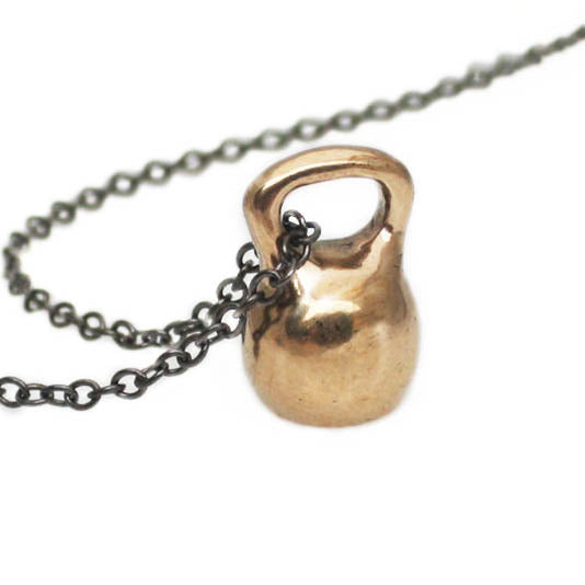 medium bronze kettlebell necklace