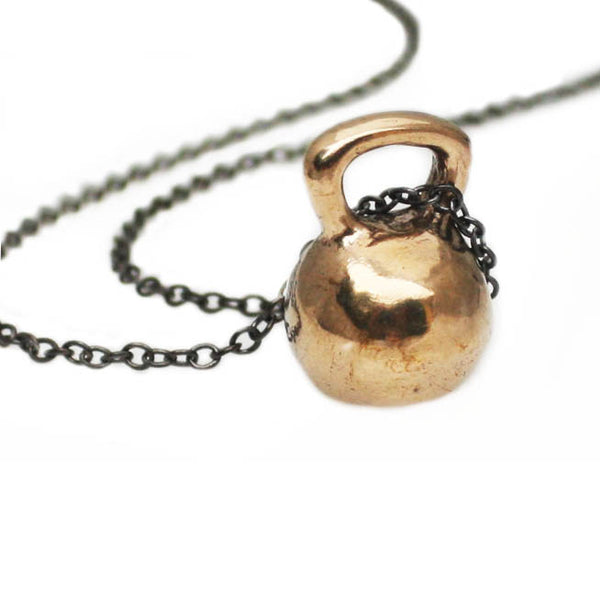 large bronze kettlebell necklace