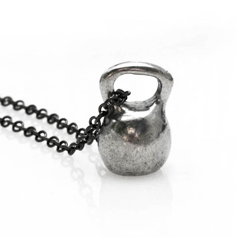 medium pewter kettlebell necklace