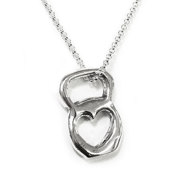 kettlebell necklace heart sterling silver