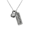 Necklace with medium pewter kettlebell and rectangle charm that says Believe in Yourself