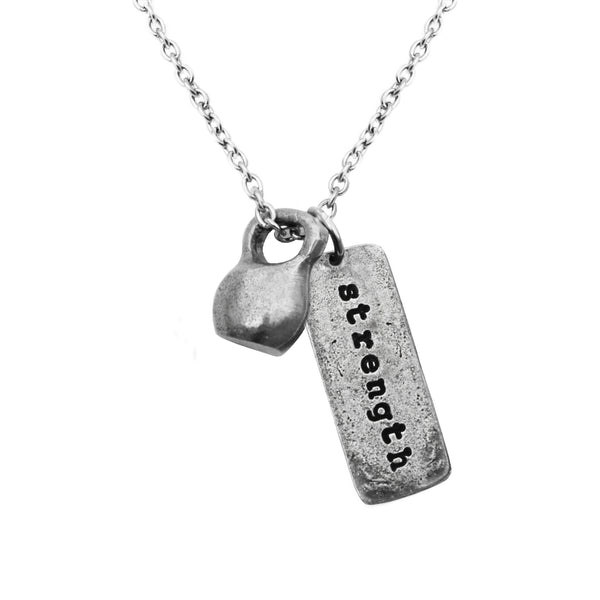 Necklace with medium pewter kettlebell and Strength charm