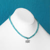 Blue Jade Choker with Silver Lotus