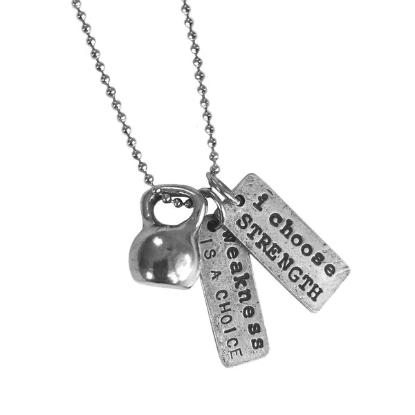 Kettlebell necklace weakness is a choice i choose strength