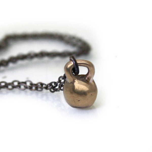 Mini Kettlebell Necklace (bronze)