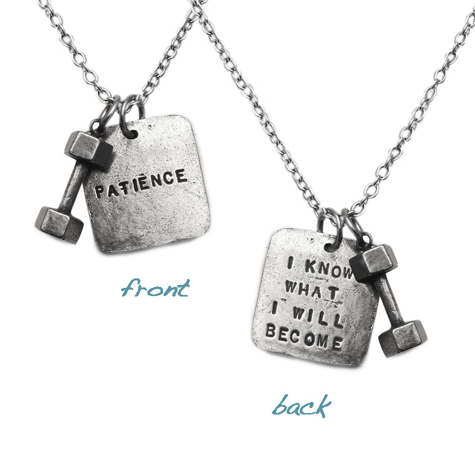 patience dumbbell necklace