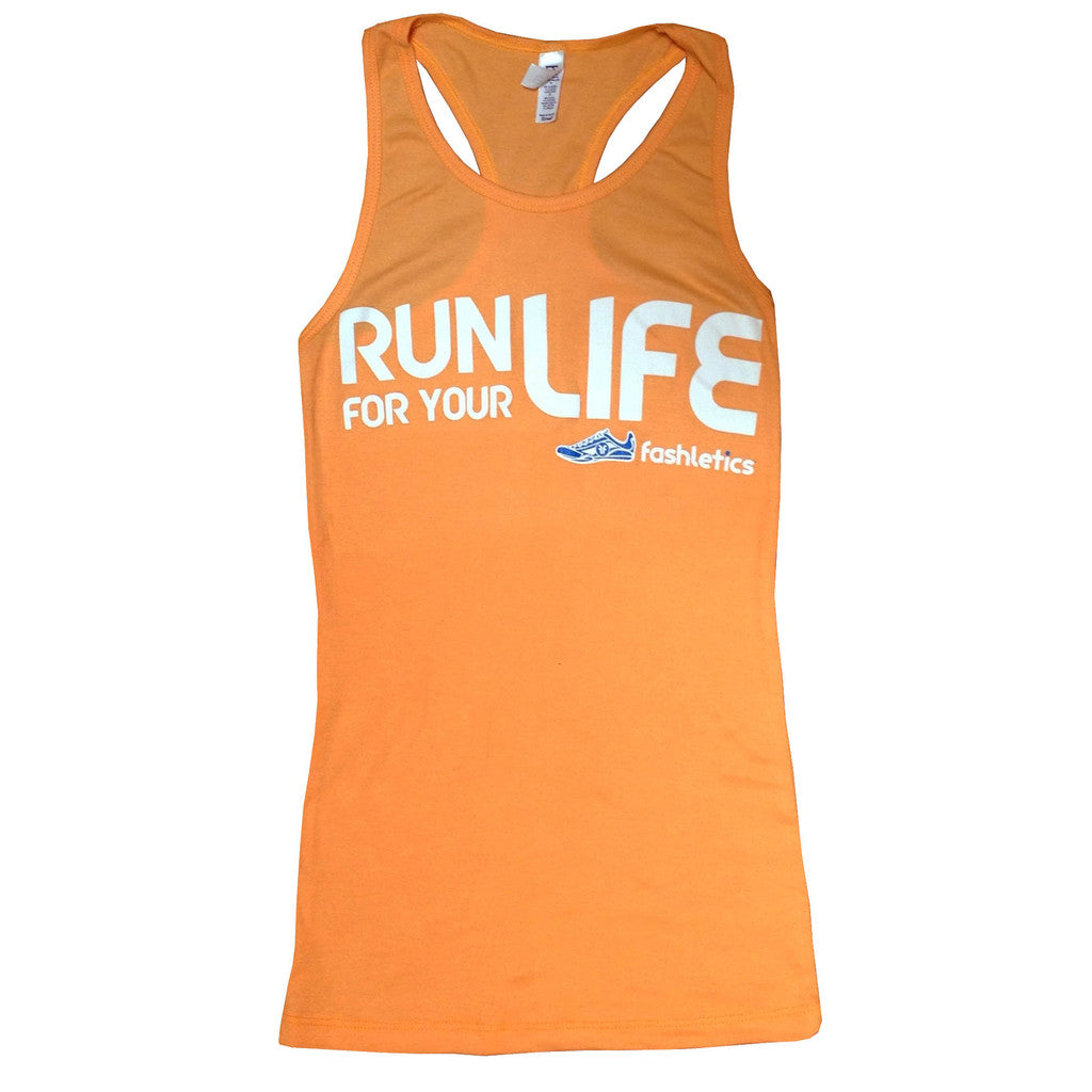 RUN FOR YOUR LIFE Tank top (tangerine)