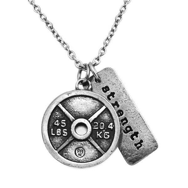 Weight Plate Necklace with Strength Charm