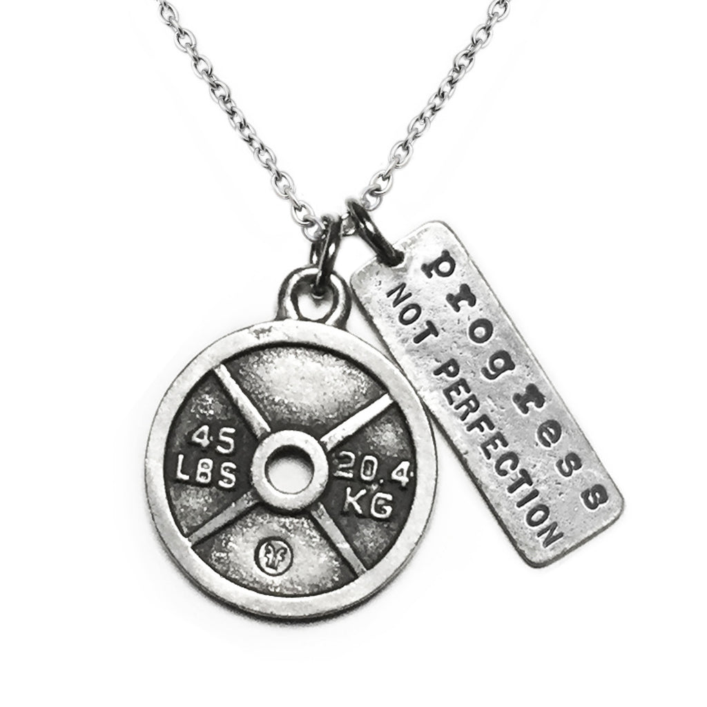Weight Plate Necklace with Progress Not Perfection Charm