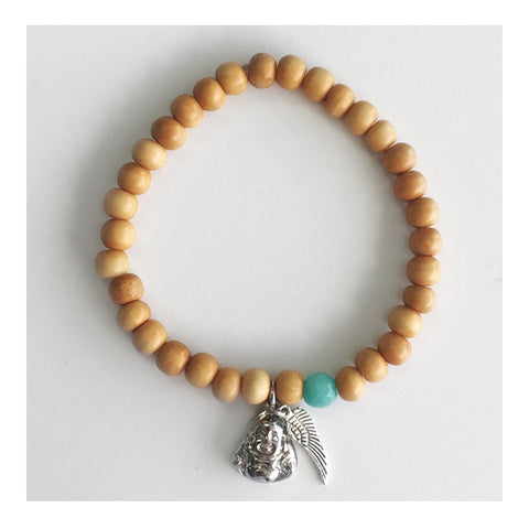Bone Bracelet with Buddha and Mini Wing