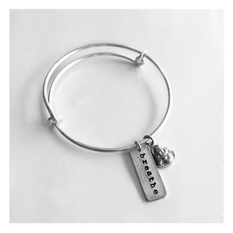 Silver Bangle with Breath and Buddha
