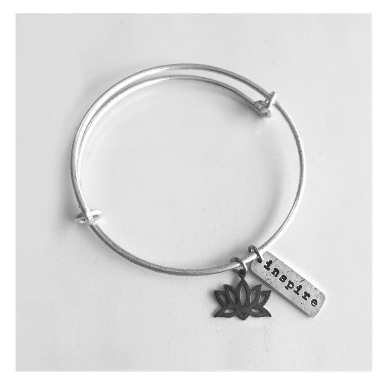 Silver Bangle with Inspire and Lotus