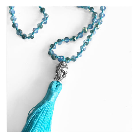 Long Blue Beaded Crystal Buddha Necklace