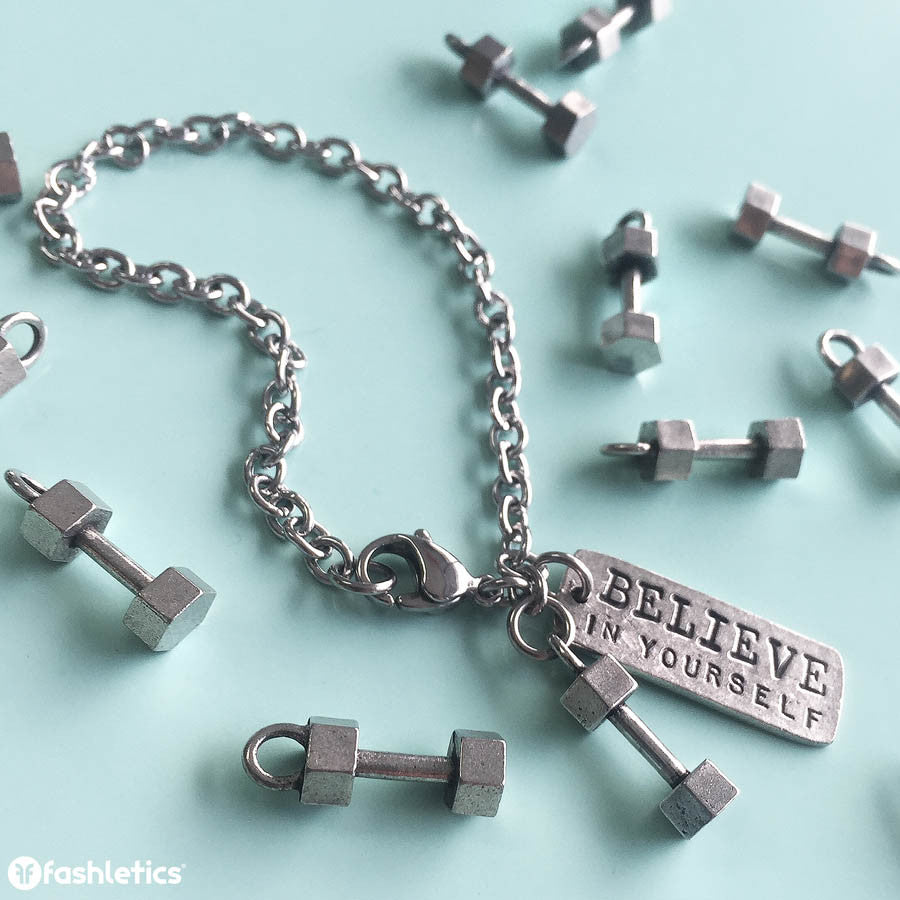 Dumbbell Charm Bracelet with Believe in Yourself Jewelry