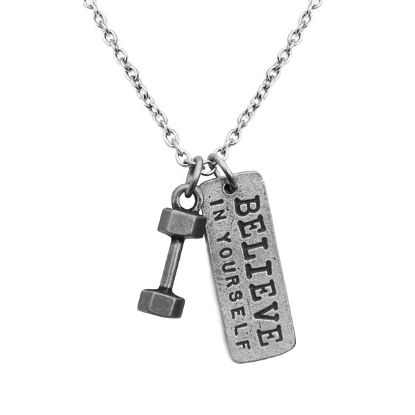 Necklace with a dumbbell charm and Believe in Yourself dog tag