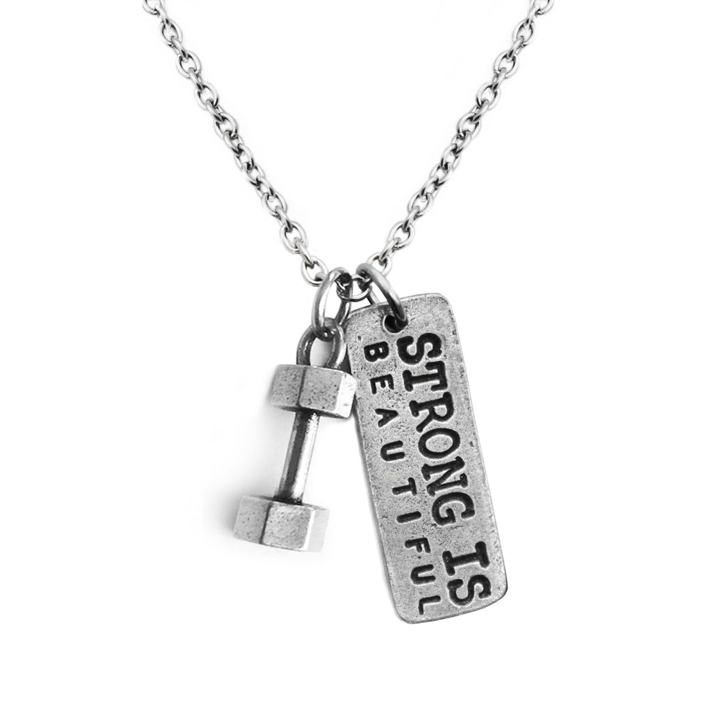 Dumbbell Necklace w/Strong Is Beautiful Charm