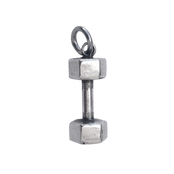 dumbbell charm sterling silver