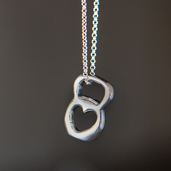 Kettlebell Love Necklace - Pewter