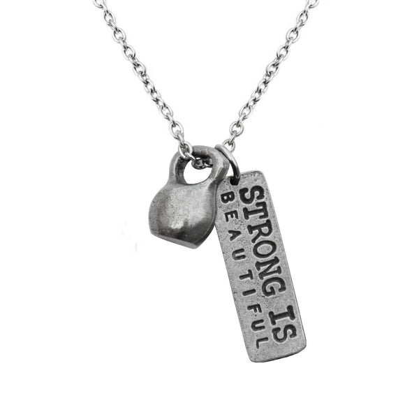 Necklace with medium pewter kettlebell and Strong Is Beautiful charm