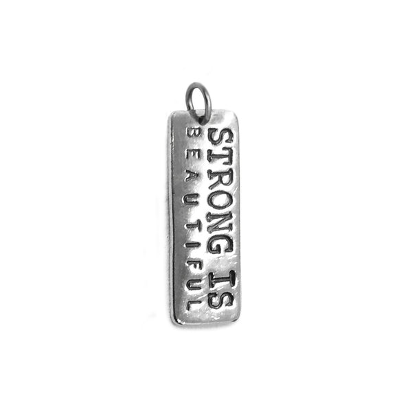 strong is beautiful necklace charm