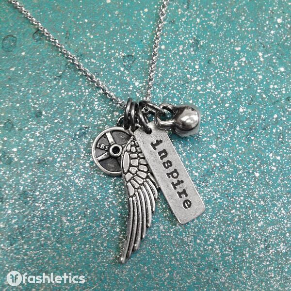 Wing, Mini KB, Mini Weight Plate and Inspire Charm Necklace
