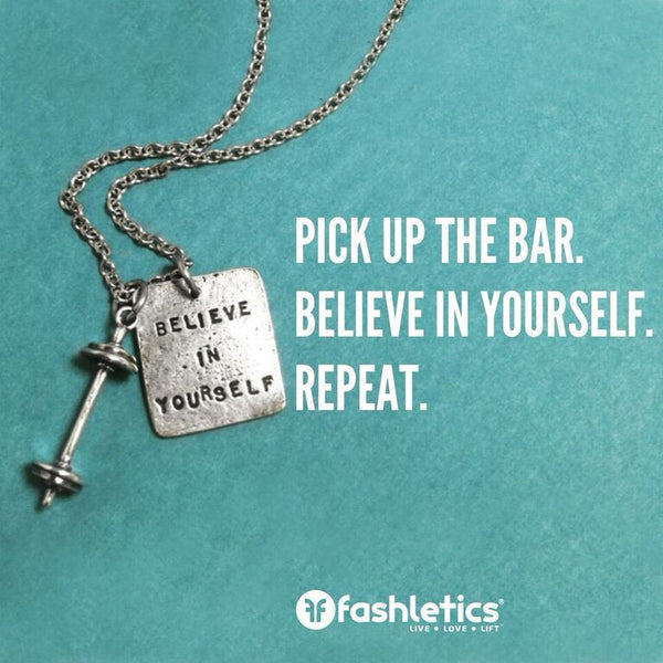 Believe in yourself square charm with Sterling Silver Barbell on Link Chain