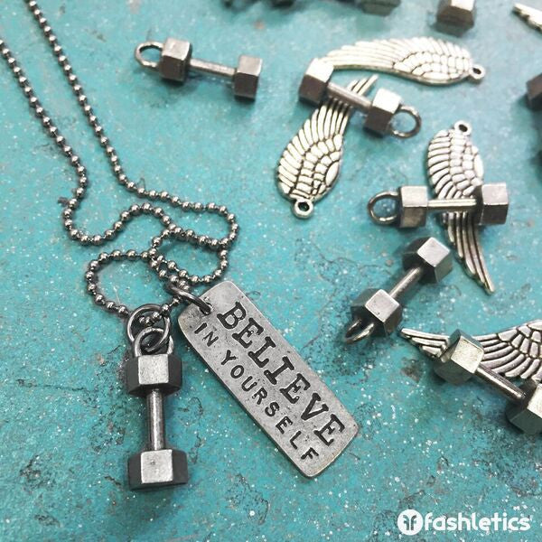 Dumbbell w/Believe in Yourself (rectangle) Necklace