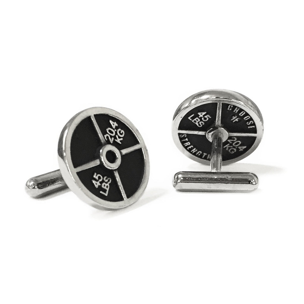 Weight Plate Cuff Links - Black & Silver